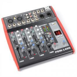 Power Dynamics PDM-L405, 4 kanálový mix. pult, USB, AUX,+48V