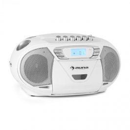 Auna KrissKross, přenosný rádio rekordér, USB, MP3, CD, bílý