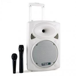 Ibiza Port10VHF-N, 500 W, přenosný PA reproduktor, akumulátor, vozík, USB, SD, MP3, bílý