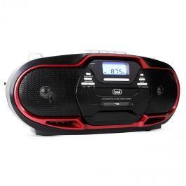 Trevi CMP-574, boombox s CD, MP3, USB, kazetovým přehrávačem, FM/AM tunerem, červený