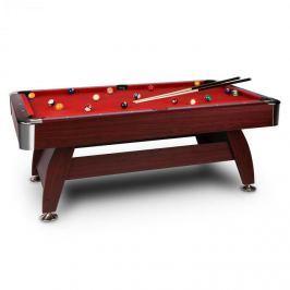 Oneconcept Brighton, červený kulečníkový stůl, 214 cm (7 stop) (122x 82 x 214 cm), sada příslušenství, dřevěný design