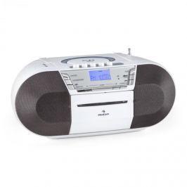 Auna Jetpack, bílý, přenosný boombox, USB, CD, MP3, FM, provoz na baterie