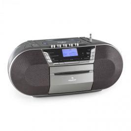 Auna Jetpack, šedý, přenosný boombox, USB, CD, MP3, FM, provoz na baterie