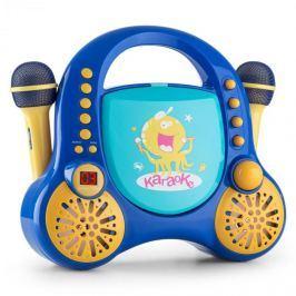Auna Rockpocket, dětský karaoké systém, CD, AUX, 2x mikrofon, sada nálepek, modrý