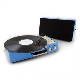 Auna Nostalgy Buckingham, kufříkový retro gramofon, reproduktor, AUX, modrý
