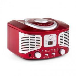 Auna RCD320, retro CD přehrávač, FM, AUX, červený