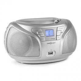 Oneconcept GROOVE SL, stříbrný, boom box s bluetooth CD FM AUX MP3