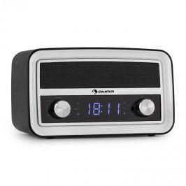 Auna Caprice RD, retro rádio budík, bluetooth, FM, USB, AUX, černý