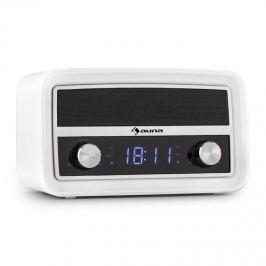Auna Caprice RD, retro rádio budík, bluetooth, FM, USB, AUX, bílý