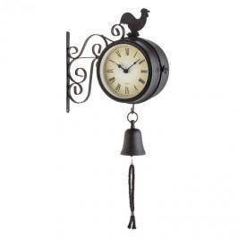 Blumfeldt Early Bird, zahradní hodiny, nástěnné hodiny, teploměr, 28 x 34 x 10 cm, zvon, retro