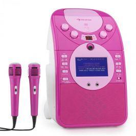 Auna ScreenStar, růžový, karaoke systém, kamera, CD, USB, SD, MP3, včetně 2 mikrofonů