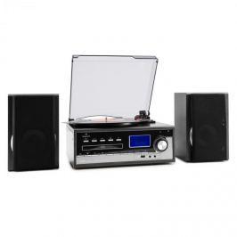 Auna Blackwood, stereo systém, gramofon, USB MP3 kódování, CD, kazeta, FM, AUX