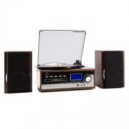 Auna Deerwood, stereo systém, gramofon, USB MP3 kódování, CD, kazeta, FM, AUX