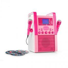Auna KA8B-V2, růžový, karaoke systém, CD přehrávač, 2x mikrofon, včetně 3x karaoke CD