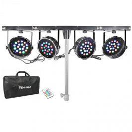 Beamz PARBAR 4pásmová sada, 18x 1 W, RGB LED diody, DMX, T-nosník, přenosná taška
