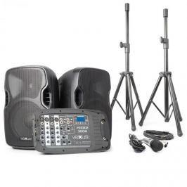 Vexus PSS302, přenosný PA audio systém, 300 W max., bluetooth, USB, SD, MP3, 2x stativ, 1x mikrofon