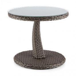 Blumfeldt Tabule, dvoubarevný taupe, odkládací stolek, 50 cm, sklo, polyratan, hliník