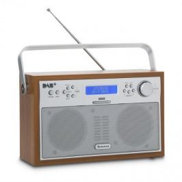 Auna Akkord, ořech, digitální rádio, přenosné, DAB + / PPL-FM, rádio, budík, LED