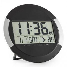 Oneconcept Clockwork, digitální bezdrátové nástěnné hodiny, teploměr, kalendář, fáze měsíce, stojan