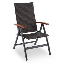 Blumfeldt Korsika, skládací židle s područkami, 58,5 x 103 x 75 cm, polyratan, hliník