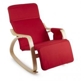 Oneconcept Beutlin houpací křeslo 68 x 90 x 97 cm (Š x V x H), bříza, dřevo, červená