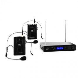 Malone VHF-400 Duo 2, 2kanálová sada VHF bezdrátových mikrofonů, 1 x přijímač, 2 x headset mikrofon