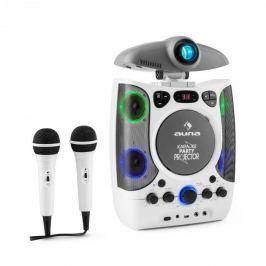 Auna KaraProjectura karaoke zařízení s projektorem, LED světelná show, USB, bílá barva