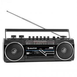 Auna Duke, retro boombox, přenosný magnetofon, USB, SD, bluetooth, FM rádio