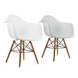 Oneconcept Bellagio, bílá, skořepinová židle, sada 2 kusů, retro, PP sedadlo, březové dřevo