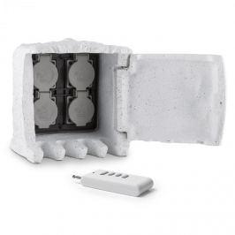 Waldbeck Power Rock Remote, světle šedá, zahradní zásuvka, 4 cestný rozdělovač, 1,5 m, dálkové ovládání, skála