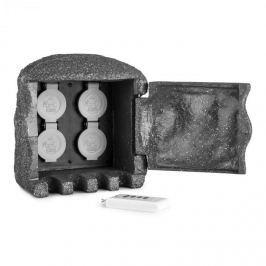 Waldbeck Power Rock Remote, tmavě šedá, zahradní zásuvka, 4 cestný rozdělovač, 5 m, dálkové ovládání, skála
