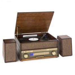 Auna Epoque 1909, retro audio systém, gramofon, kazety, bluetooth, USB, CD, AUX