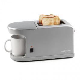 Oneconcept Quickie 2-v-1, dvouotvorový topinkovač, mini kávovar, včetně šálku