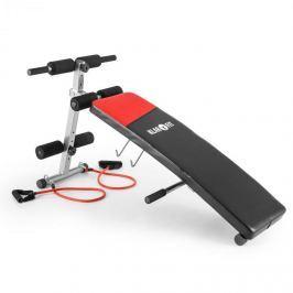 Klarfit Hiup Situp-Bank posilovač břišního svalstva, expander, sklápěcí lavička, syntetická kůže, černá/červená