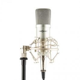 Oneconcept Mic-700, stříbrný, studiový mikrofon, Ø 34 mm, univerzální, pavouk, ochrana před větrem, XLR
