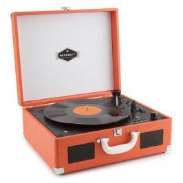 Auna Peggy Sue OR přenosný retro gramofon, CD USB SD, oranžová barva