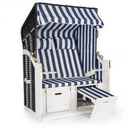 Blumfeldt Hiddensee plážové sezení plážový koš XL dvousedadlo lehátko borovice modrá/ bílá pruhovaný motiv