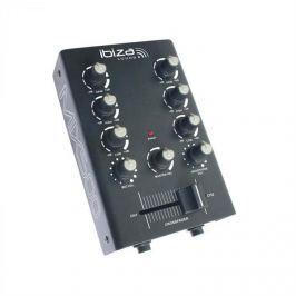 Ibiza MIX500, černý, 2 kanálový mini mixážní pult, 2 pásmový ekvalizér