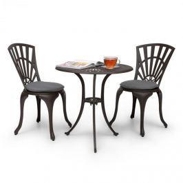 Blumfeldt Valletta třídílná bistro sada stůl 2 židle hliníkový odlitek bronzově-hnědá