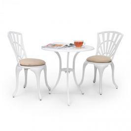 Blumfeldt Valletta, bílá, jídelní bistro sada, 3-dílná, stůl + 2 židle, litina hliníku