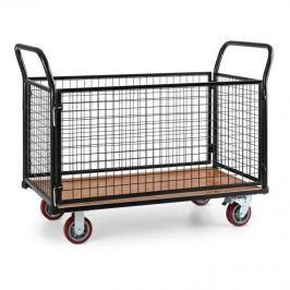 Waldbeck Loadster mřížkový vozík pojízdný skladový vozík max. 500 kg dřevěný spodek černá barva