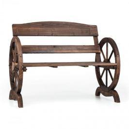 Blumfeldt Ammergau zahradní lavice, dřevěná lavice, kola vozu, jedlové opalované dřevo, 108x65x86cm