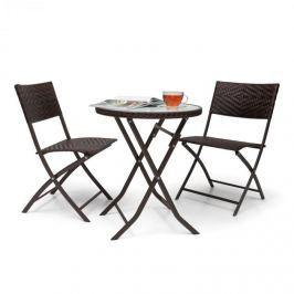 Blumfeldt Before Sunrise třídílná sada LED Rattan Bistro Set stůl, 2 židle, hnědá