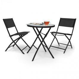 Blumfeldt Before Sunrise třídílná sada Textilen Bistro Set stůl, 2 židle, černá