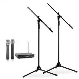 Electronic-Star Sada bezdrátových mikrofonů se stativy, 2 VHF rádiové mikrofony, 2 stojany, černé