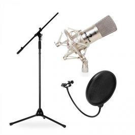 Auna CM001S, studiová/pódiová mikrofonní sada, kondenzátorový mikrofon, stativ a protivětrná ochrana
