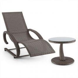 Blumfeldt Daybreak, hnědošedé, houpací lehátko + stůl, sada zahradního nábytku, optika pleteného koše