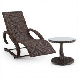 Blumfeldt Daybreak, hnědá, houpací lehátko + stůl, sada zahradního nábytku, optika pleteného koše