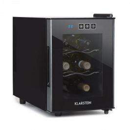Klarstein Cerese vinotéka, 16 l 6 lahví, dotyková, 38 dB, skleněné dveře, černá barva