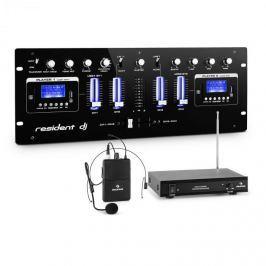 Resident DJ DJ405USB-BK 4kanálový DJ mixážní pult včetně sady rádiových mikrofonů s headsetem